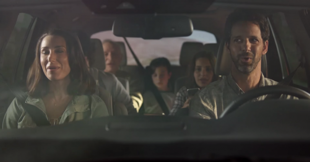 "An ad for the 2016 Honda Pilot Elite, featuring a family singing the Weezer song ""Buddy Holly"""