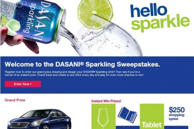 Dasani Sparkling sweepstakes new 2015 Hyundai Sonata contest win