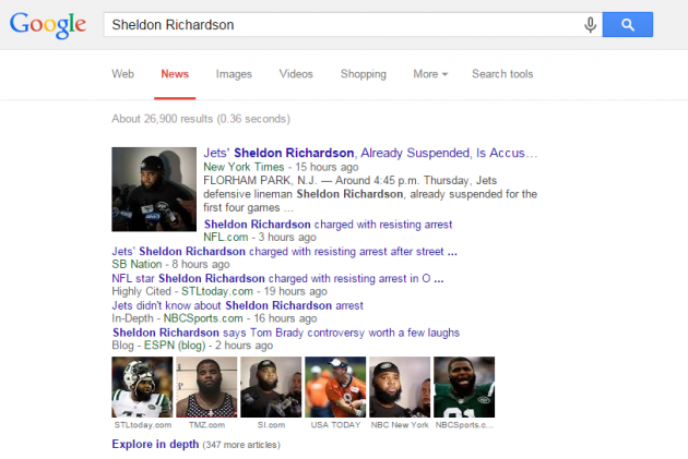 Sheldon Richardson Google News search