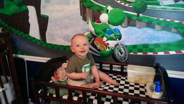 Wes' son Grant in a Mario Kart Nursery