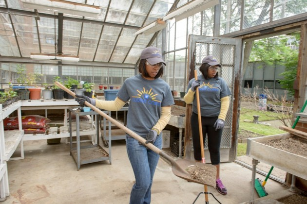 GM Student Corps interns at Osborn High School are cleaning out a greenhouse and refurbishing a courtyard and pond outside their school as their summer project, which dovetails with a massive makeover of the school and Osborn community in August led by Detroit-based non-profit Life Remodeled.