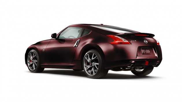 2016 nissan 370Z coupe black cherry rear oblique