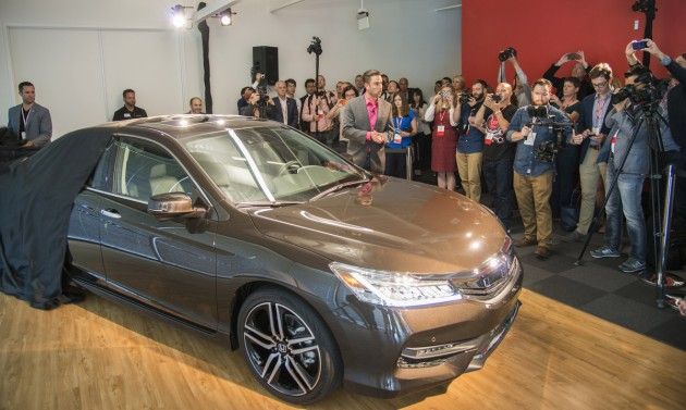 The 2016 Honda Accord is unveiled at Honda's new Silicon Valley R&D facility