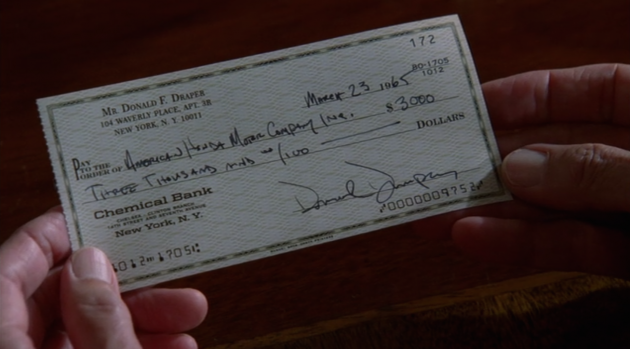 Don Draper check made out to Honda Motor Company