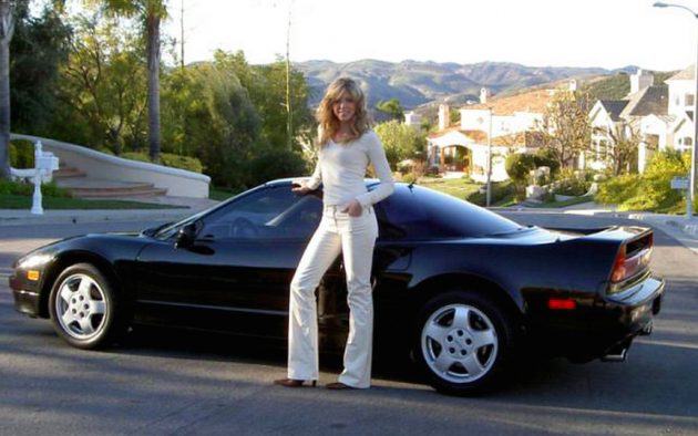 Marla Maples poses with a 1991 Acura NSX given to her by then-boyfriend Donald Trump