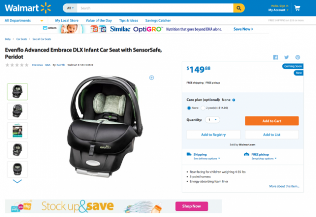 Evenflo Car Seat with Sensor