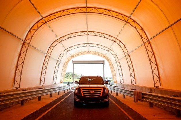 A tunnel at the new Active Safety Test Area allows engineers to simulate toll booths and other structures that require special attention when designing active safety technologies