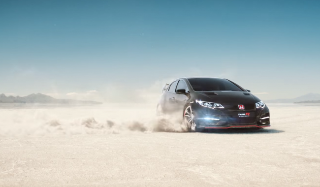 "A Honda Civic Type R speeds by in the European car commercial, ""Keep Up"""
