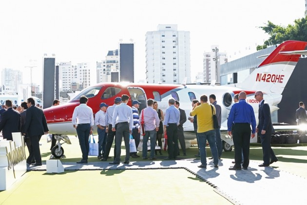 The HondaJet is shown off to the public at LABACE 2015