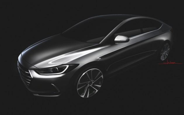 Redesigned Hyundai Elantra sketch rendering