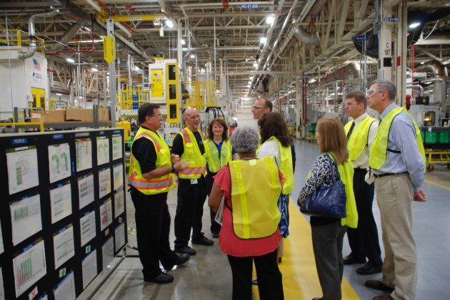 Members of the Ohio Environmental Protection Agency tour General Motors' Toledo Transmission plant on Monday, August 17, 2015, to learn about ongoing initiatives that reduce the plant's carbon footprint.