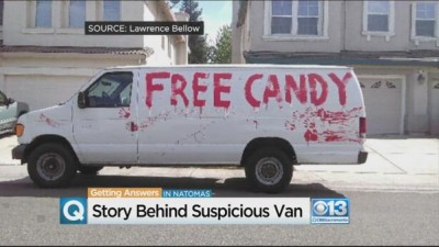 The van was parked outside 12-year-old Lawrence Bellow's house