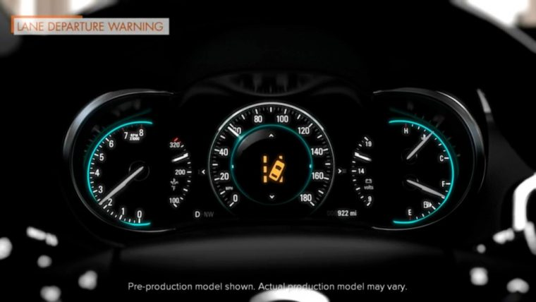 Lane Departure warning is featured on the 2016 Buick LaCrosse