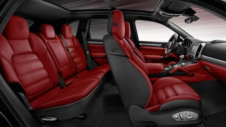 A two-toned leather interior is available for the 2016 Porsche Cayenne