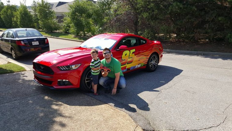 Brett Winek Holden and Lightning McQueen Mustang
