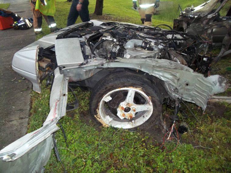 Front half of crashed Nissan