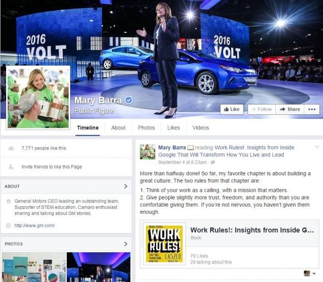 Mary Barra Facebook Page