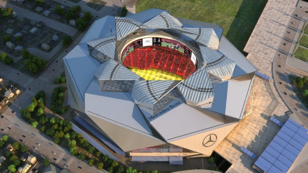 A rendering of the Mercedes-Benz stadium, where the Atlanta Falcons and Atlanta United will play