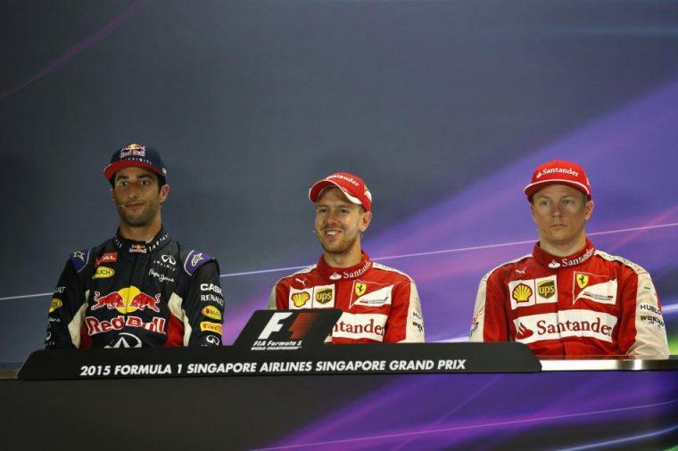Second place Ricciardo, first place Vettel, and third place Räikkönen