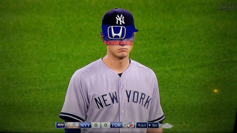 Sportsnet Honda advertisement on New York Yankee Greg Bird's face