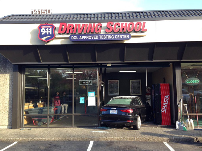 Driver's Ed Student Crashes into Driving School