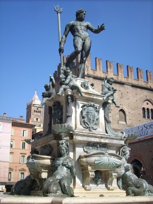 Neptune statue fountain in Bologna Italy