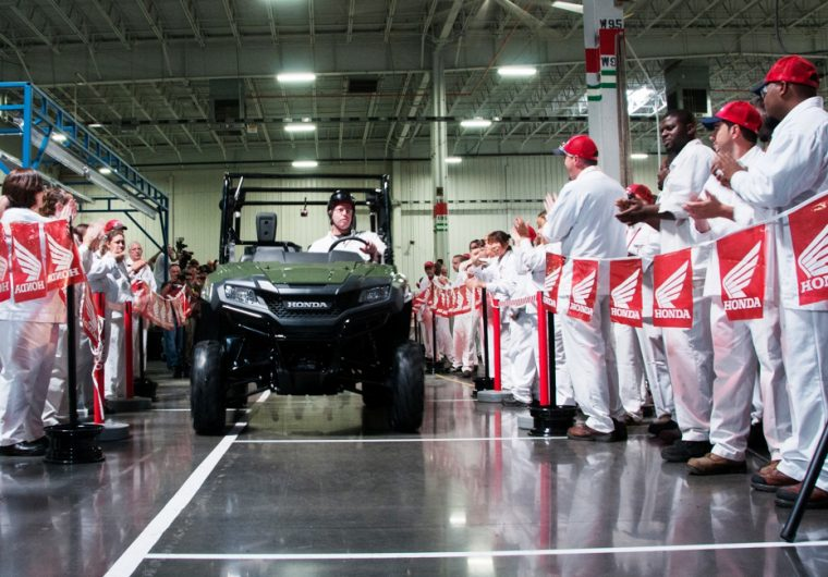 Honda of South Carolina (HSC) employees celebrate production beginning on the Pioneer Side-by-Sides