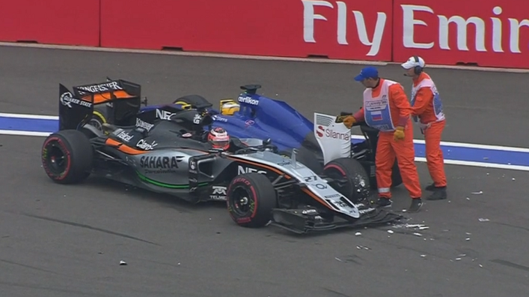 Hulkenberg and Ericsson crash.