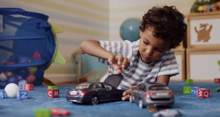 "In Mercedes' ""Uncrashable Toy Cars"" ad, kids get frustrated that they cannot bang the cars into one another"