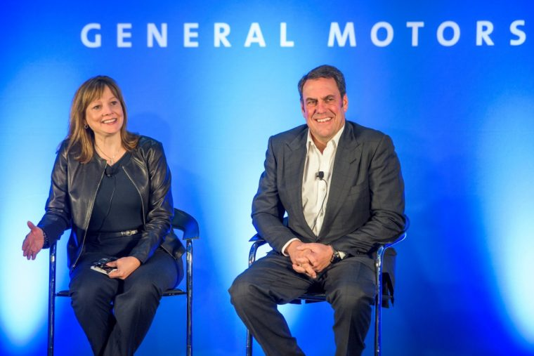 GM CEO Mary Barra and Executive Vice President of Global Product Development, Global Purchasing and Supply Chain Mark Reuss