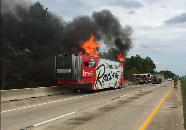 Nascar Trailer Catches Fire on Car Hauler Size