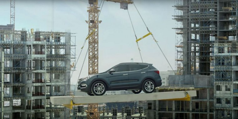[VIDEO] Hyundai Santa Fe Shows How to Escape from a Construction Site Unharmed commercial