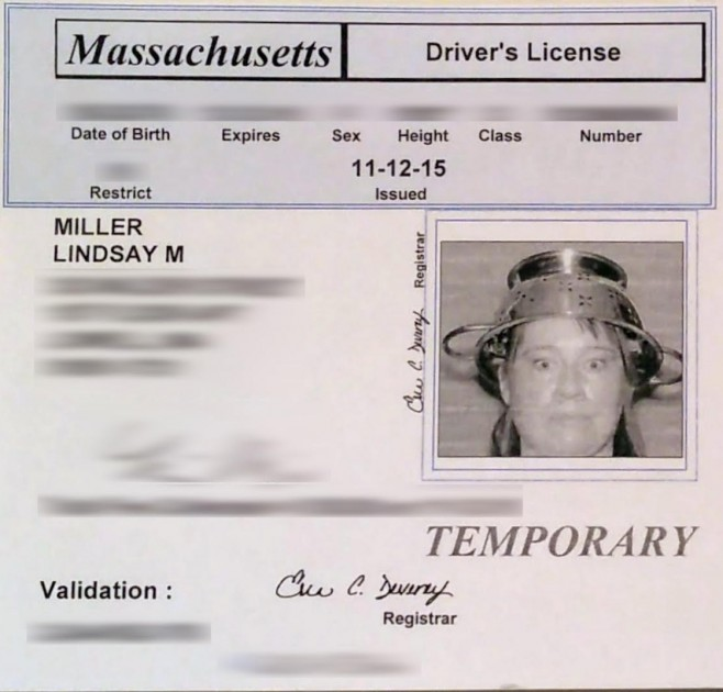 pastafarian driver's licence