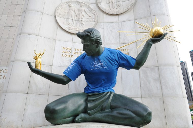 Spirit of Detroit Statue with Ford Volunteer Corps t-shirt