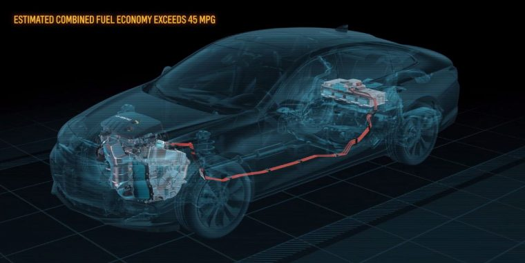 This screen capture animation provides an under-the-skin look at hybrid components in the 2016 Chevrolet Malibu Hybrid, which will get a General Motors-estimated 48 mpg in city driving.