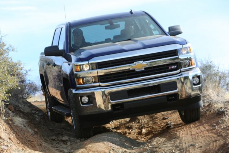 The 2016 Chevrolet Silverado 2500 HD features a front chrome bumper