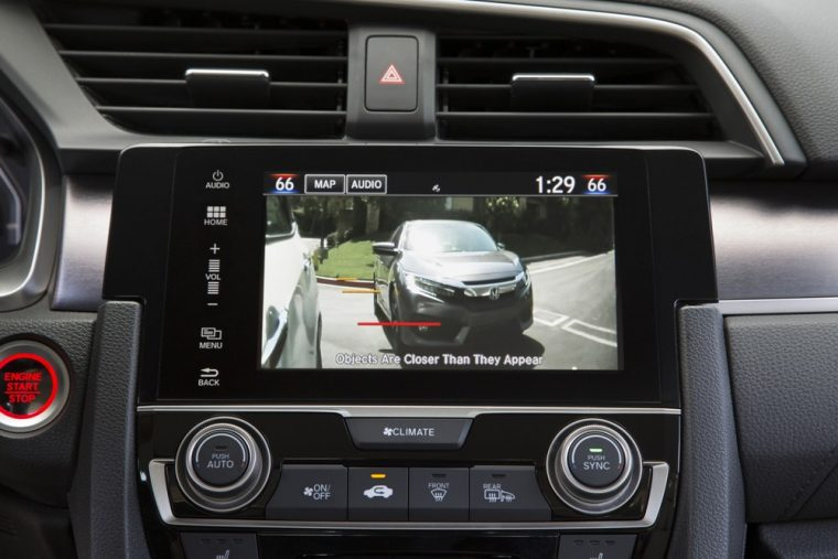 A rearview camera is one of the many safety features of the 2016 Honda Civic sedan