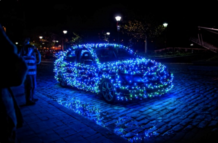 car decoration blue lights