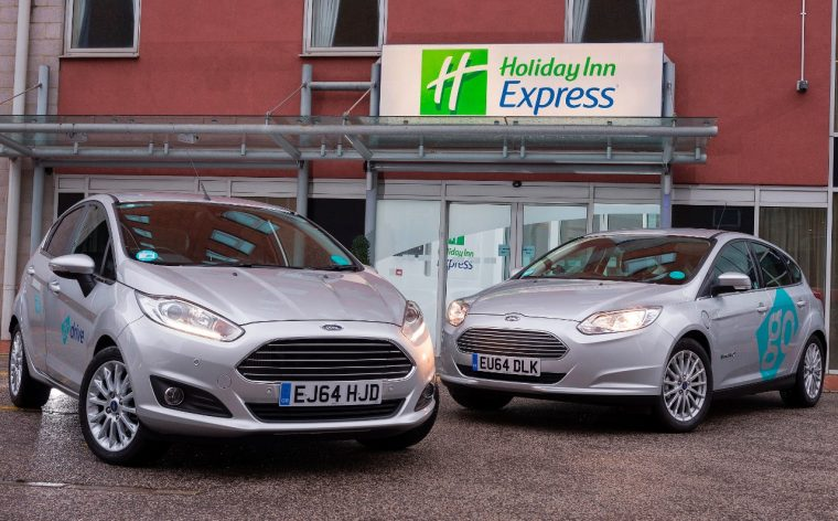 Ford Focus Electric and Fiesta outside Limehouse Holiday Inn Express