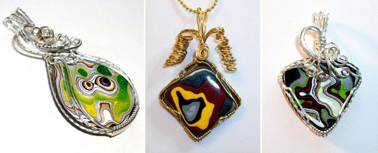 Fordite jewelry from automotive paint by the Fordite Queen on Etsy