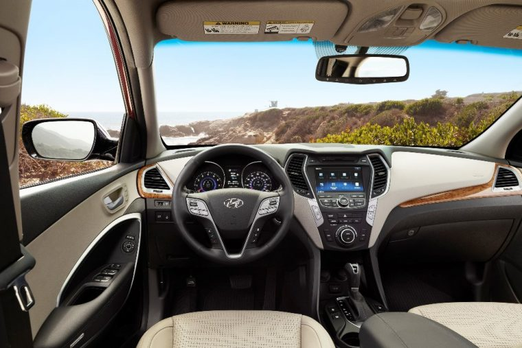 Interior of the roomy 2016 Hyundai Santa Fe Sport