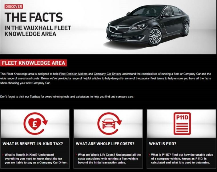 Vauxhall website fleet page