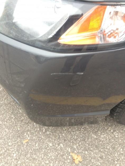 scratched 2010 Honda Civic taken into Toronto Honda dealership