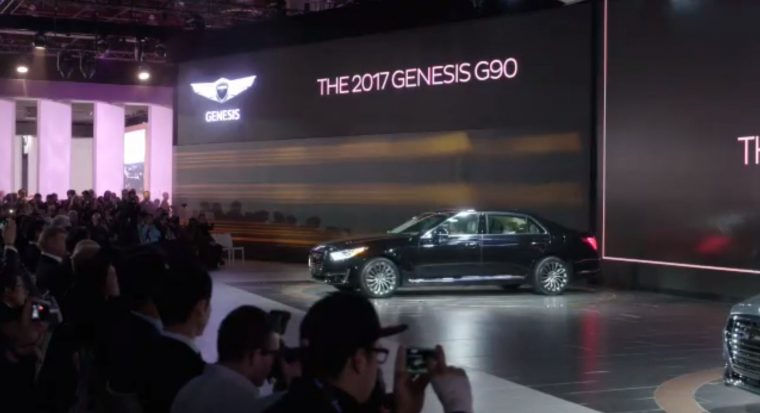 2017 Genesis G90 debut at North American Internation Auto Show Detroit stage