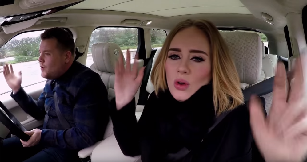 Adele and james corden say hello from his car the news wheel for Car pool karaoke show