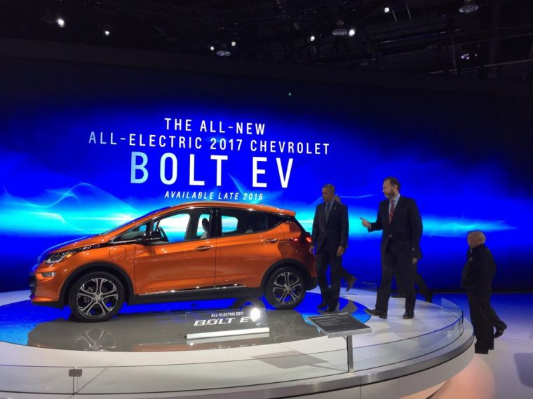 Barack Obama with 2017 Chevy Bolt EV at 2016 North American International Auto Show in Detroit