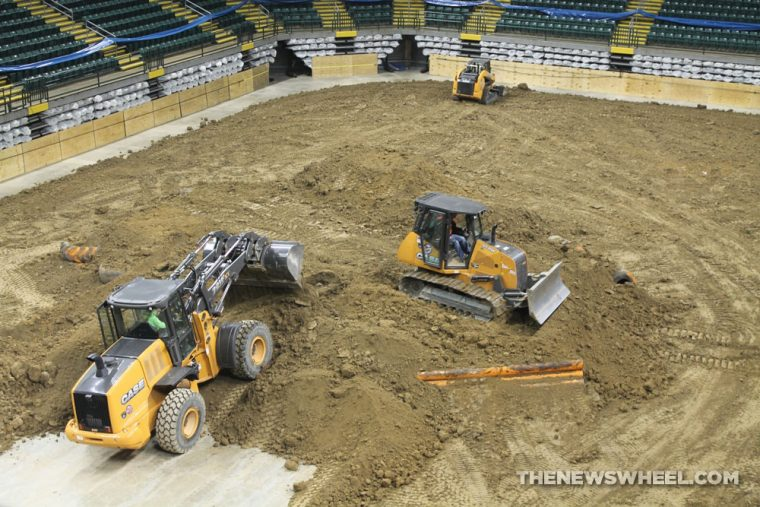 Monster Jam event director Jimmy Mijarez said the same style of hybrid track is built at all Monster Jam arena shows