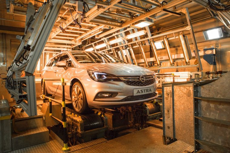 An Opel Astra Sports Tourer being tested at the ITDC's climatic test chamber