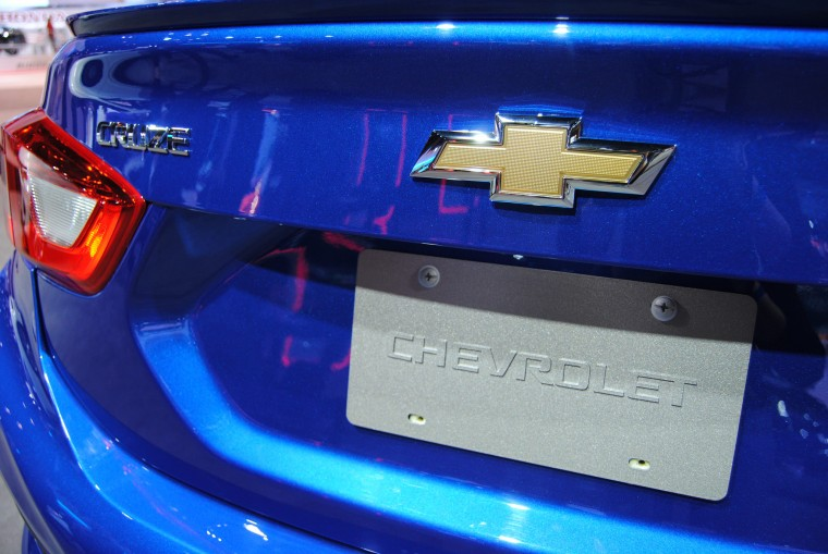 Rear of a 2016 Chevrolet Cruze Premium model on display at 2016 Chicago Auto Show