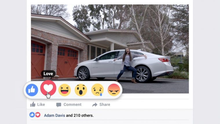 2016 Chevy Malibu commercial uses new Facebook Reactions buttons, like love